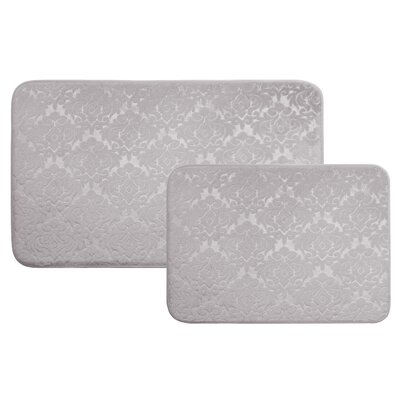 Medallion 2 Piece Bath Rug Set Color: Silver Gray