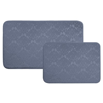 Medallion 2 Piece Bath Rug Set Color: Stone Blue