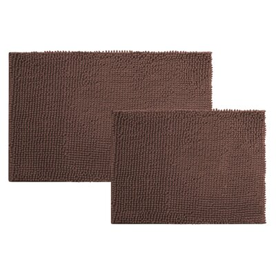 2 Piece Chenille Bath Rug Set Color: CHOCOLATE