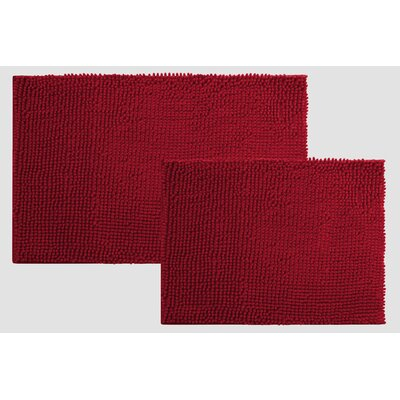Caledon 2 Piece Chenille Bath Rug Set Color: BURGUNDY