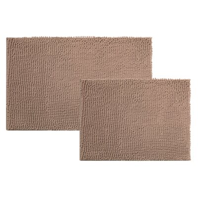 Caledon 2 Piece Chenille Bath Rug Set Color: TAUPE
