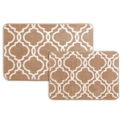 2 Piece Bath Rug Set Color: Tan