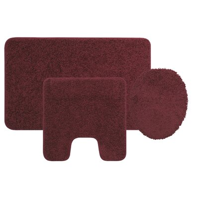 Manchester 3 Piece Bath Rug Set Color: Burgundy
