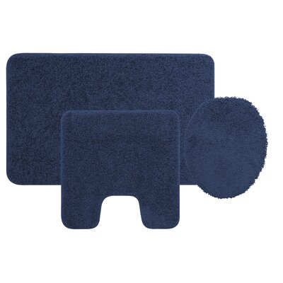 Manchester 3 Piece Bath Rug Set Color: Navy