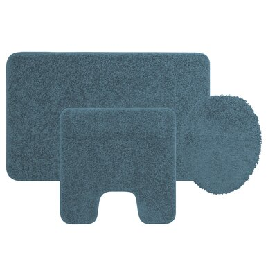 Manchester 3 Piece Bath Rug Set Color: Smoke Blue