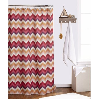 Flame Stitch Shower Curtain Color: Burgundy