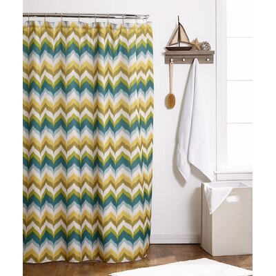 Flame Stitch Shower Curtain Color: Green