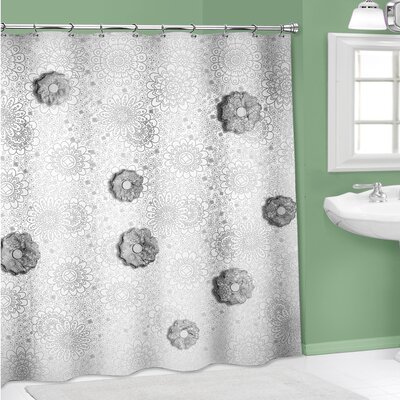 Vinyl 3D Wild Flower Shower Curtain Color: Black