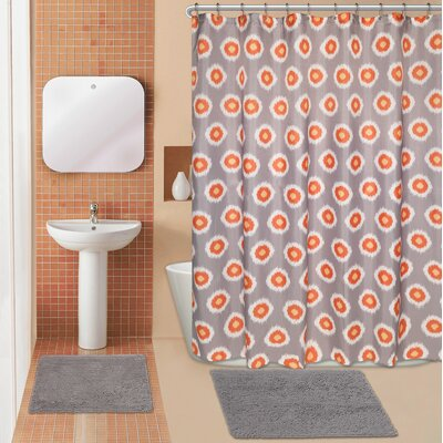 Domino 15 Piece Chenille Shower Curtain Set
