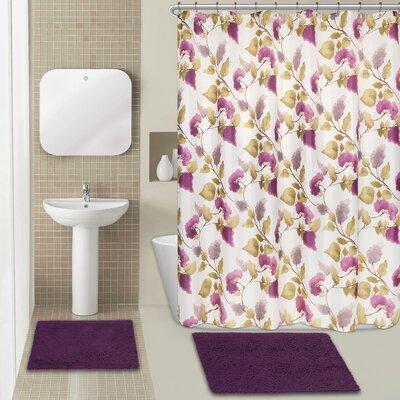 Jasmine 15 Piece Chenille Shower Curtain Set