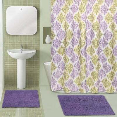 Diamond Medallion 15 Piece Chenille Shower Curtain Set Color: Purple