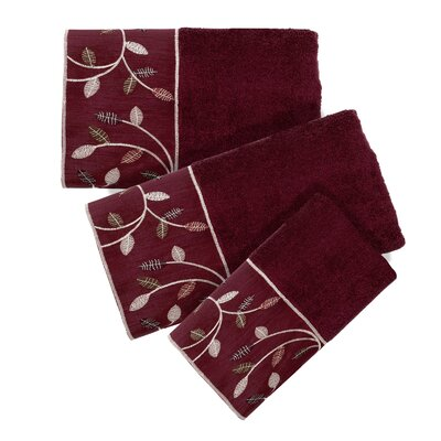 Aubury 3 Piece Towel Set Color: Burgundy