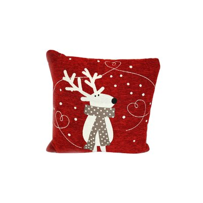Reindeer Scarf Christmas Throw Pillow
