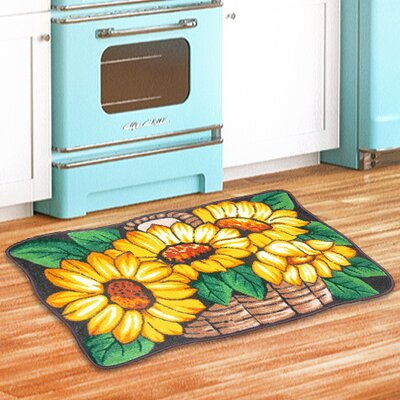 Sunflower Basket Kitchen Green/Yellow Area Rug
