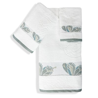 Shell Rummel Butterfly 3 Piece Towel Set Color: White
