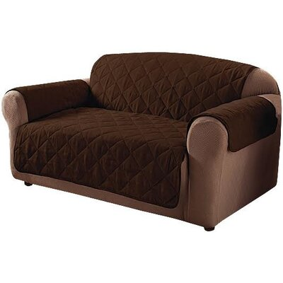 Microfiber Quilted Sofa Slipcover Color: Chocolate
