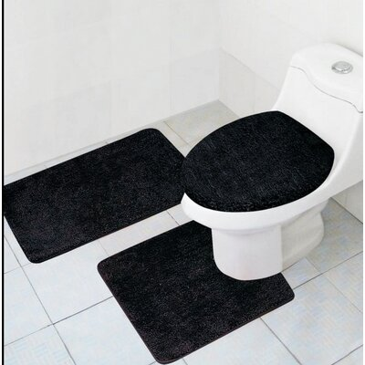 Cote 3 Piece Bath Rug Set Color: Black