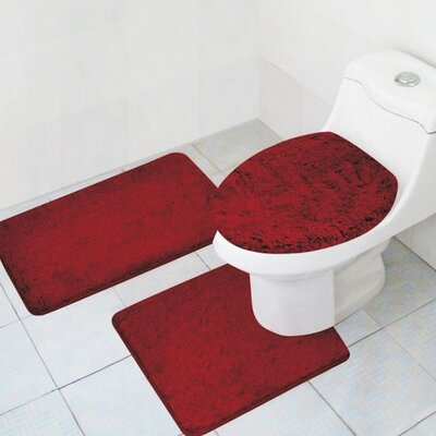 Cote 3 Piece Bath Rug Set Color: Burgundy