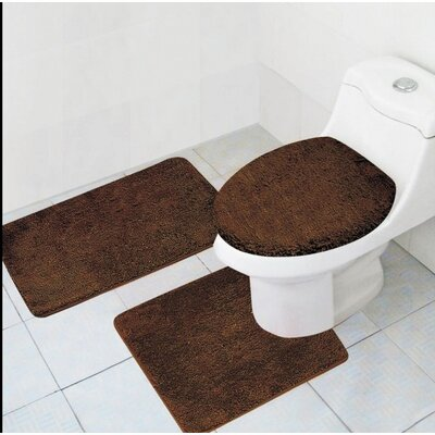 Cote 3 Piece Bath Rug Set Color: Chocolate
