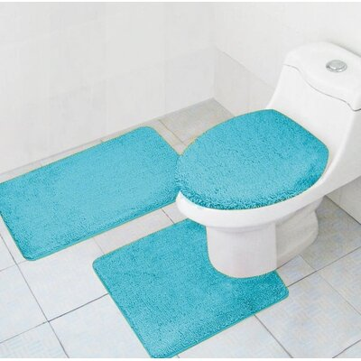 Cote 3 Piece Bath Rug Set Color: Turquoise