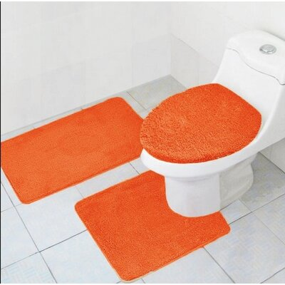 Cote 3 Piece Bath Rug Set Color: Orange
