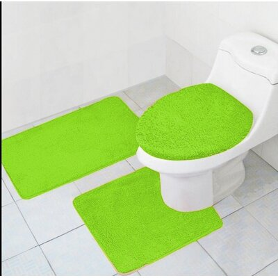 Cote 3 Piece Bath Rug Set Color: Lime