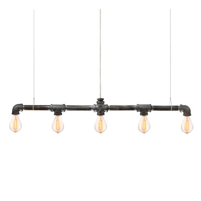 Kennesaw Bar Linear Suspension 5-Light Kitchen Island Pendant Finish: Black Steel 5-Bulb