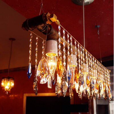 Industrial Linear 5-Light Crystal Chandelier