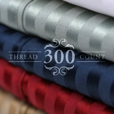 300 Thread Count Cotton Blend Pillowcase Set Size: King, Color: Navy