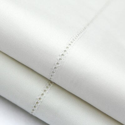 Postell 400 Thread Count Cotton Pillow Case Color: White, Size: King