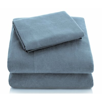 Portuguese Flannel Sheet Set Color: Pacific, Size: Twin