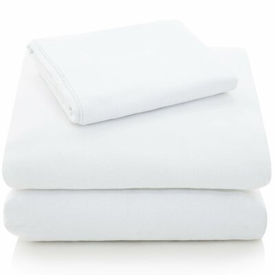 Portuguese Flannel Sheet Set Color: White, Size: Extra-Long Full