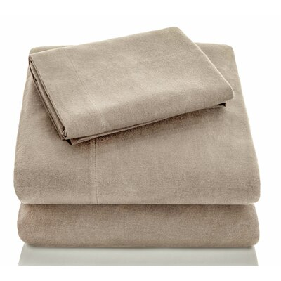 Portuguese Flannel Sheet Set Color: Oatmeal, Size: King