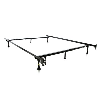 Heavy Duty 6 Leg Adjustable Metal Bed Frame with Glide
