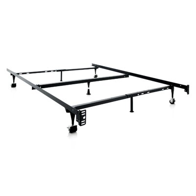 Heavy Duty 7-Leg Adjustable Metal Bed Frame with Center Support and Rug Roller Bed Frame