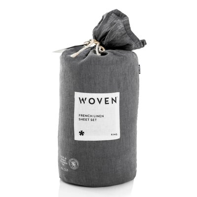 Parma French Linen Sheet Set Size: Queen, Color: Charcoal