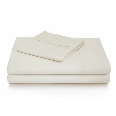 Woven 600 Thread Count Cotton Blend Pillowcase Size: King, Color: Ivory