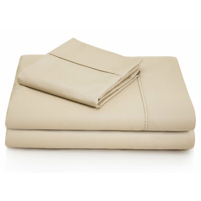 Woven 600 Thread Count Cotton Blend Pillowcase Size: King, Color: Driftwood