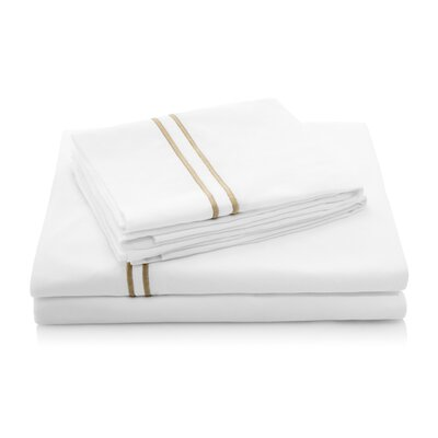 200 Thread Count Percale Bed Sheet Set Size: Split King, Color: Khaki