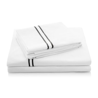 200 Thread Count Percale Bed Sheet Set Size: Split California King, Color: Black