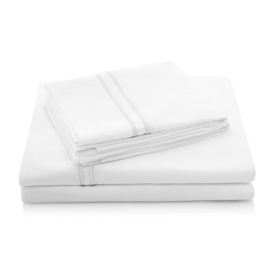 200 Thread Count Percale Bed Sheet Set Size: Split King, Color: White
