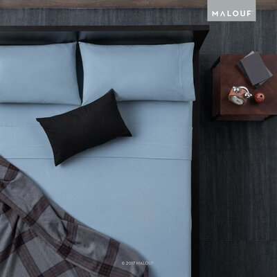 Heavyweight Portuguese Flannel 4 Piece Sheet Set Size: Queen, Color: Pacific