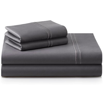 Cateline 4 Piece 600 Thread Count Premium Cotton Fitted Sheets Set Color: Charcoal, Size: Split King