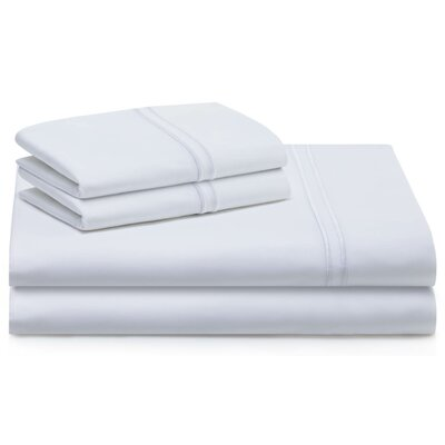 Cateline 4 Piece 600 Thread Count Premium Cotton Fitted Sheets Set Color: White, Size: Queen