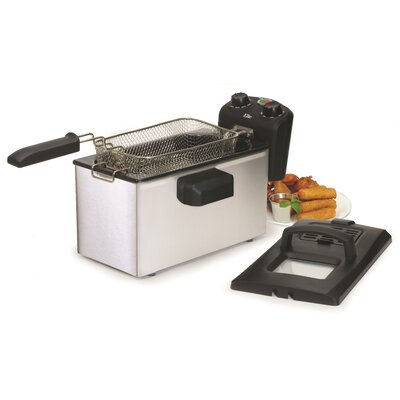 Gourmet 3.31 Liter Stainless Steel Immersion Deep Fryer with Timer EDF-3500