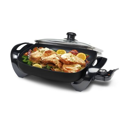 "Gourmet 12"" x 12"" Electric Skillet with Glass Lid Color: Black EG-1220G"