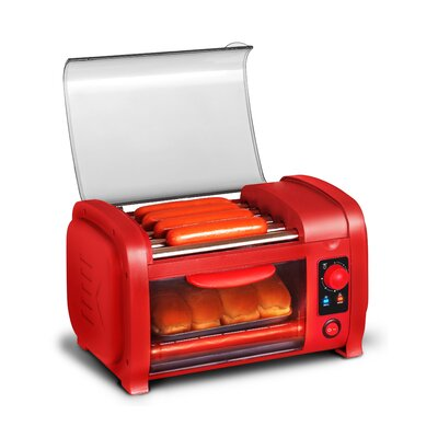 Elite EHD-051R Cuisine Hot Dog Roller Toaster Oven Combo, Red 294771284