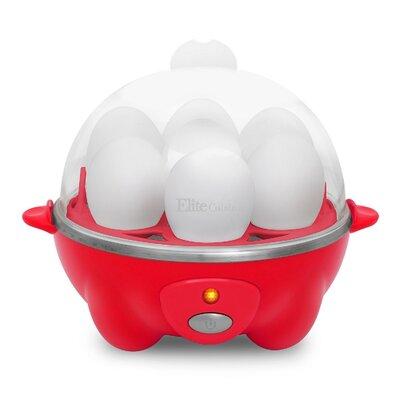 Elite Cuisine - 7-Egg Automatic Egg Cooker - Red EGC-007R