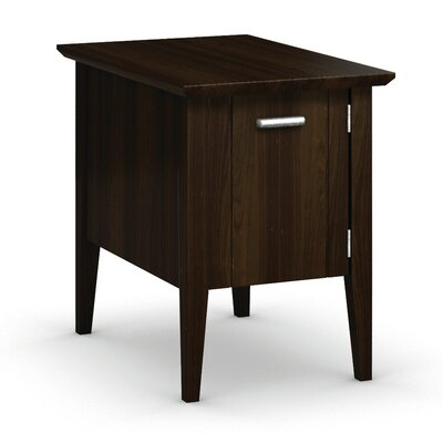 Currents Collection Chairside Table With Door Color: Coffee