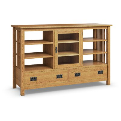 Mission Hills TV Stand with Two Drawers, One Glass Door, Six Adjustable Shelves Finish: Golden Oak